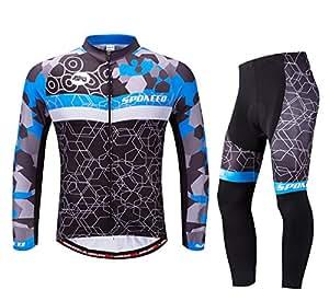 sponeed Men's Bike Jersey Long Sleeve Cycling Pants Shirt Clothes Quick Dry US XXL Multi Blue