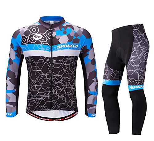 Cycling Jersey Men Bike Jacket Long Sleeve Bicycle Pants Shirt Clothes Full Zip US XL Multi (Bike Apparel)