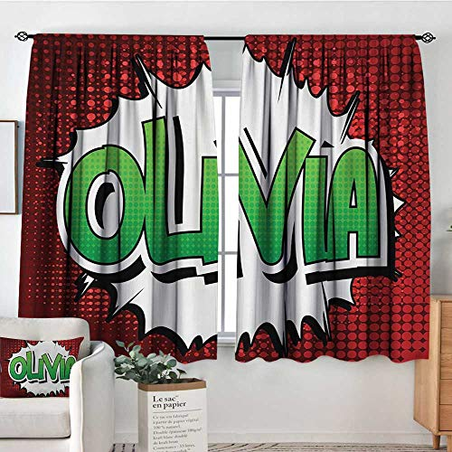 Olivia Custom Curtains Retro Comic Book Burst with Common Women`s Given Name Teenager Design Kid Blackout Curtains 72