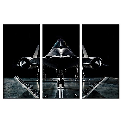 VVOVV Wall Decor - Black and White Airplane Painting Canvas Prints SR-71 Military Reconnaissance Aircraft Blackbird Poster Framed Wall Art Home Decor Contemporary Giclee Artwork - Art Print 71