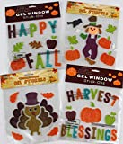 Assorted Variety Fall Gel Clings: Happy Harvest Pumpkins Scarecrow Turkey Leaves Decorations for Home Office Windows Mirrors and More
