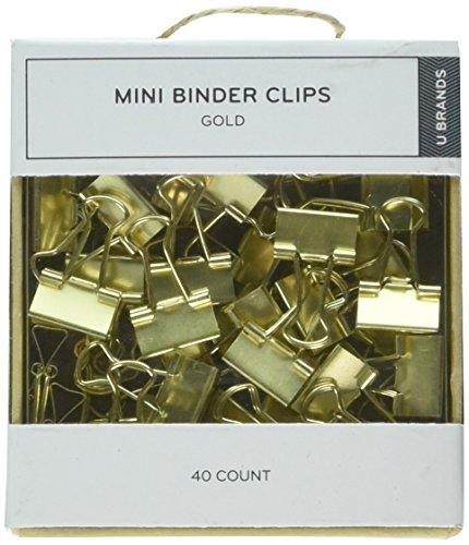 (U Brands LLC Mini Binder Clips, Gold, Pack of 40 (763A0624))