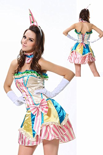 Jojo Circus Halloween Costume (Vintage Clown Costume - Fancy Adult Sexy Circus Halloween Costume for Women)