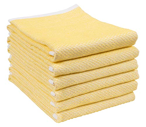 (Reversible Terry Web Kitchen Towels | Set of 6 18 x 28 Inch Absorbent, Durable, Beautiful, and Luxuriously Soft Kitchen Towels | Perfect for Kitchen Spills, Cleaning, and Drying Your Hands - Yellow)