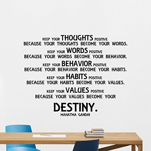 Mahatma Gandhi Quotes Wall Decal Sayings Keep Your Thoughts Positive Gift Vinyl Sticker Print Wall Art Design Room Decor Poster Custom Mural 131bar - Mahatma Gandhi Quote Sticker