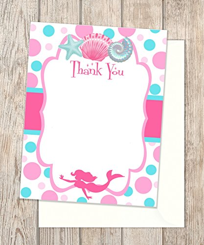 Amazon Com Mermaid Baby Shower Or Birthday Thank You Cards Flat