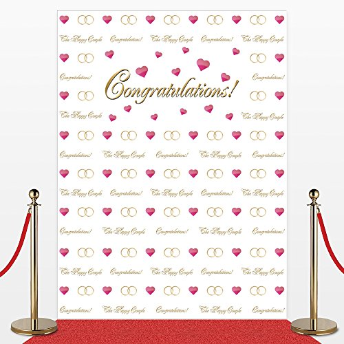 Photo Backdrop for Weddings,Receptions, No-wrinkle,Fabric,Seamless,Foldable Banner. Red Carpet Backdrop, Photography Studio Cloth Background, Non-Glare. 7' Tall and 5'3