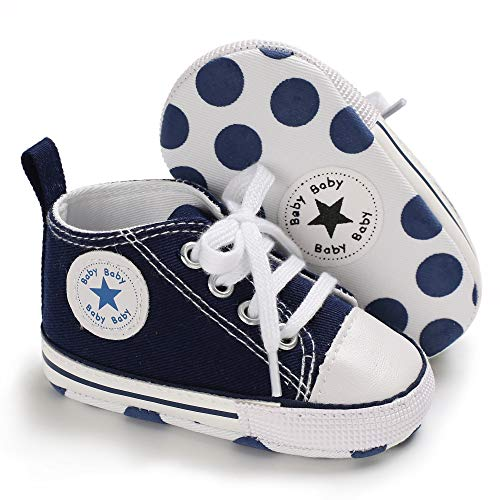 Unisex Baby Boys Girls Canvas Sneakers Soft Soled High-Top Ankle Infant Crib Shoes Toddler First Walkers(12-18 Months,Navy Blue)