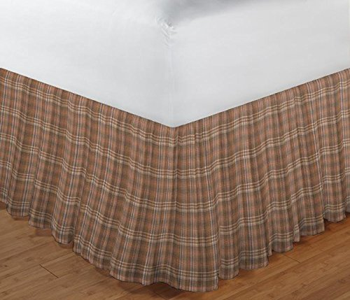 Patch Magic Brown Beige Dobby Checked Fabric Dust Ruffle, (Cabin Bed Ruffle Bedskirt)