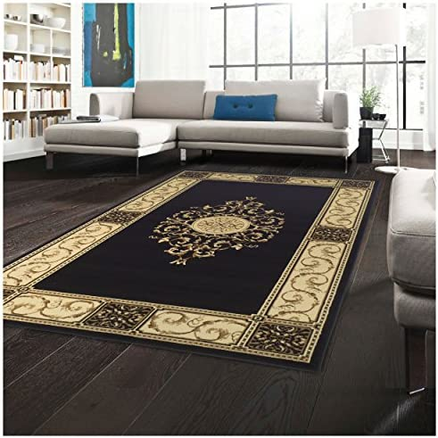Superior Elegant Medallion Collection 8 x 10 Area Rug, Attractive Rug with Jute Backing, Durable and Beautiful Woven Structure, Floral Medallion Rug with Broad Border – Midnight Blue