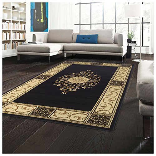 Superior Elegant Medallion Collection 5 x 8 Area Rug, Attractive Rug with Jute Backing, Durable and Beautiful Woven Structure, Floral Medallion Rug with Broad Border – Midnight Blue