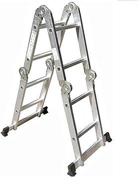 DD Escalera Multifunción, 2 Archivos, 4 Escalera Plegable Escalera Aleación Aluminio Escalera Plegable De Hogar 2.5 M / 8.2 FT: Amazon.es: Bricolaje y herramientas