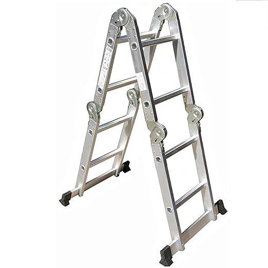 ZR- Escalera Multifunción, 2 Archivos, 4 Escalera Plegable Escalera Aleación Aluminio Escalera Plegable De Hogar 2.5 M / 8.2 FT -Fácil de almacenar y fácil de llevar: Amazon.es: Hogar