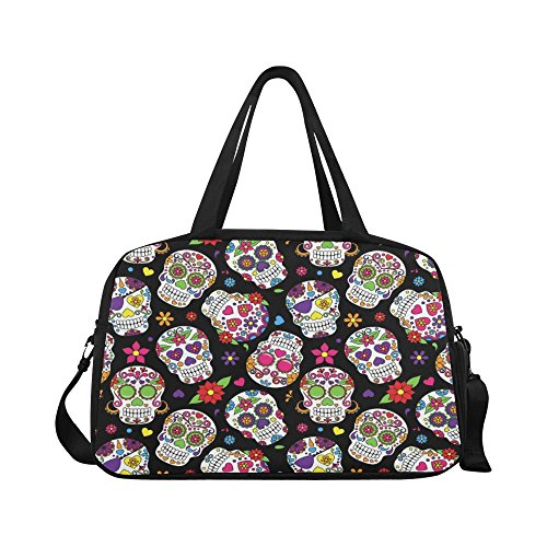 InterestPrint Travel Duffel Tote Bag with Shoes Compartment for Women & Men Day of the Dead Colorful Sugar Skull with Floral Ornament ()