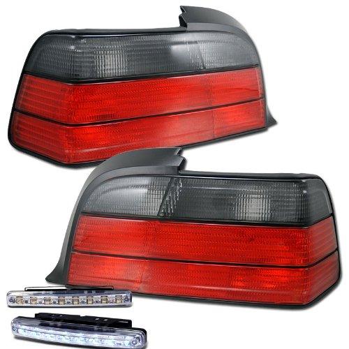 1992-1998 BMW 3-SERIES E36 REAR BRAKE TAIL LIGHT RED/SMOKED+LED BUMPER RUNNING