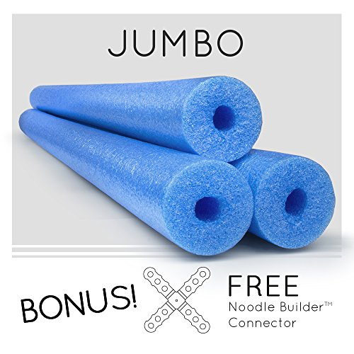 3 Pack Oodles Monster 55 Inch x 3.5 Inch Jumbo Swimming Pool Noodle Foam Multi-Purpose BLUE