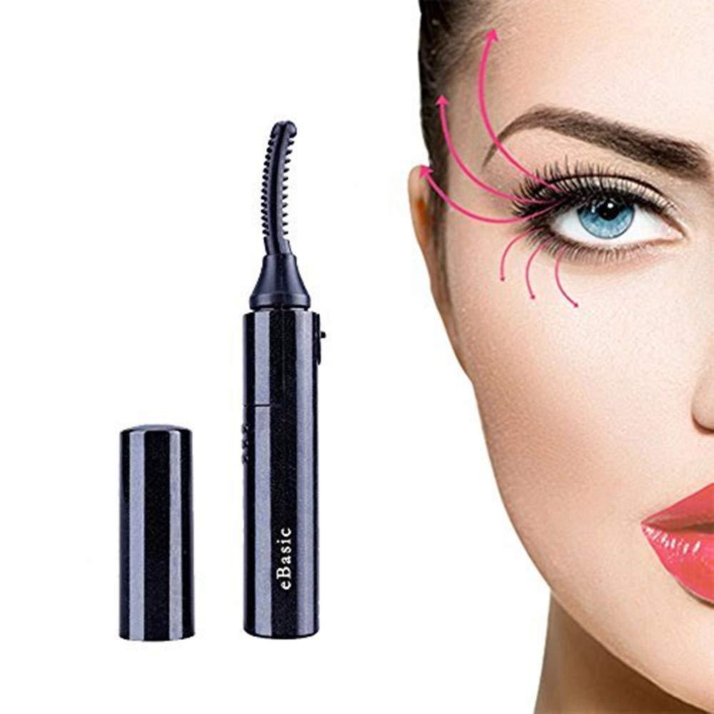 eBasic Recourbe Cils Électrique Portable Chauffant Mini Bigoudi des Cils Outil de Maquillage de Yeux pour Cils Courbés Noir pour les Filles Femmes