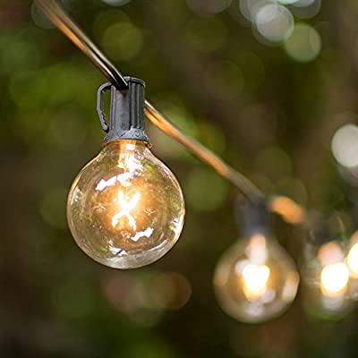 Globe String Lights, 2 Inch Glass E12 Bulbs, 25 Foot Black Wire C7 Strand, Incandescent, Patio Bistro Globe Light, Event Wedding Venue Lighting, End To End Connectable, Outdoor, Clear