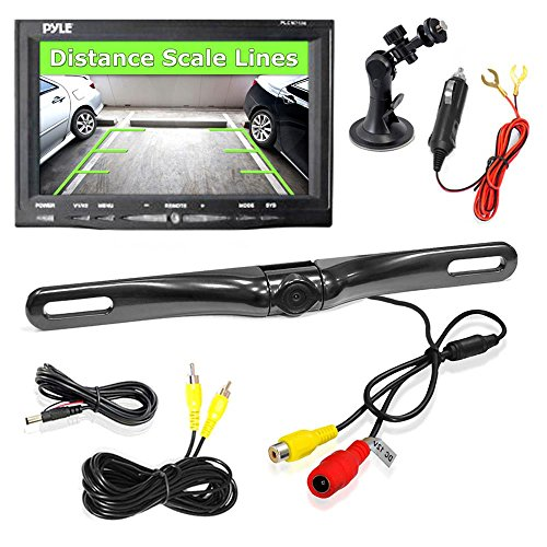 Pyle Backup Car Camera Rear View Screen Monitor System - Parking and Reverse Assist Safety Distance Scale Lines, Waterproof & Night Vision, 7