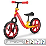 GOMO Balance Bike - Toddler Training Bike for 18 Months, 2, 3, 4 and 5 Year Old Kids - Ultra Cool Colors Push Bikes for Toddlers/No Pedal Scooter Bicycle with Footrest (Red)