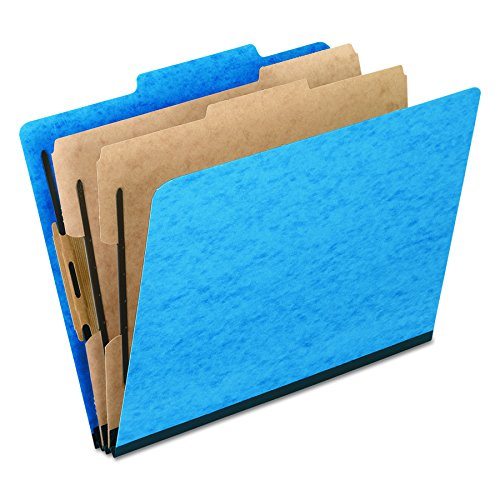 Pendaflex Top-Tab Pressboard Classification Folders, 2/5 Cut, 2 Dividers, Legal Size, Light Blue, 10 Per Box  (2257LB)