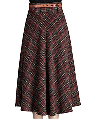 Femirah Women's Fall Winter Plaid Midi Wool Skirt A Line Wool Skirt