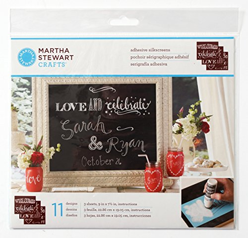 Chalk Stencils (Martha Stewart Crafts Chalkboard Silkscreens (9 by 7.5-Inch), 33551 Phrases (Set of 3))