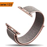 amBand Apple Watch Sport Loop Band 42mm, Lightweight Breathable Nylon Replacement Band for Apple Watch Nike+, Series 1, Series 2, Series 3, Sport, Edition-Pink Sand
