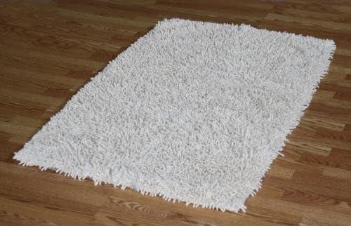 IXI Handmade Premium Shaggy Off-White Cotton Rug 3 x 5