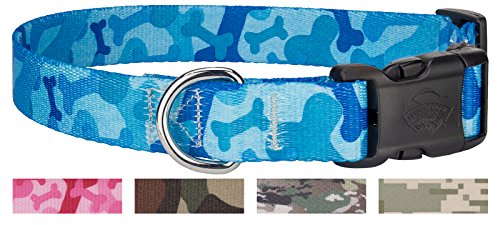 Image of Country Brook Design | Blue Bone Camo Deluxe Dog Collar - Medium