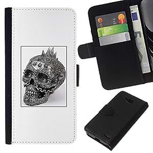 All Phone Most Case / Oferta Especial Cáscara Funda de cuero Monedero Cubierta de proteccion Caso / Wallet Case for LG OPTIMUS L90 // Skull Punk Rock White Black Poster