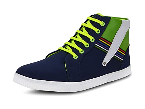 52f67c05347995 Gisole Men s Blue and Green High Top Shoes - 7 UK  Buy Online at Low ...