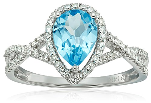 Gold Swiss Cut Ring - 14k White Gold Swiss Blue Topaz and Diamond Solitaire Infinity Shank Engagement Ring (1/4cttw, H-I Color, I1-I2 Clarity), Size 7