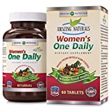 Amazing Naturals WOMEN'S ONE DAILY Multivitamin * Best Raw Whole Food Multivitamins For Women * 60 Tablets Per Bottle * Packed With The Goodness Of Over 30 Organic Vegetables And Fruits That Provide O Review