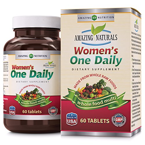 Amazing Naturals Womens One Daily Multivitamin   Best Raw Whole Food Multivitamins For Women   60 Tablets Per Bottle   Packed With The Goodness Of Over 30 Organic Vegetables And Fruits That Provide O
