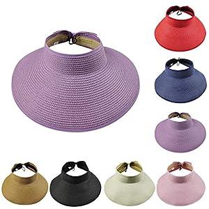S.H.EEE Women's Summer Foldable Straw Sun Visor w/Cute Bowtie Hat