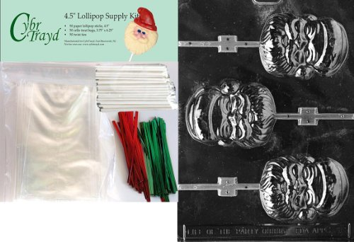 Cybrtrayd 45stK50C-C036 Santa Face Lolly Christmas Chocolate Mold with Lollipop Kit and Molding Instructions, Includes 50 Lollipop Sticks, 50 Cello Bags, 25 Red and 25 Green Twist Ties