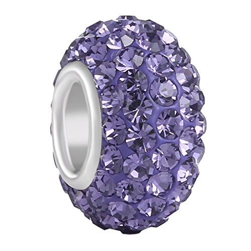 Beads Fit Pandora Bracelets (BoRuo Charms 925 Sterling Silver Czech Crystal Larvender Glass Ball Charms Beads Spacers June Birthstone Solid Core Charm Fit Pandora Bracelets.)