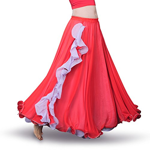 Flamenco Set (ROYAL SMEELA Women's Belly Dance Chiffon Skirt ATS Voile Maxi Full Tribal Bellydance Dress Red One Size)