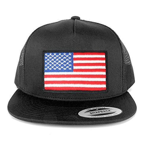 Flexfit 5 Panel American Flag Patched Snapback Mesh Charcoal Cap - White/Black Border