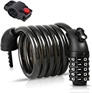 Bike Lock with 5-Digit Code,1.2M/4ft Bicycle Lock Combination Cable Lock Lightweight & Security Bike Chain