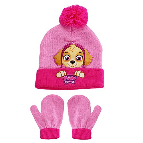 PAW Patrol Skye Nickelodeon Winer Hat and Mitten Set Pink Toddler Girls - Athletic Hat Applique