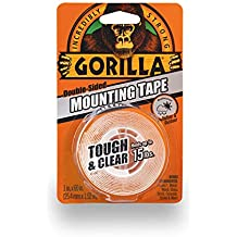 """Gorilla 6065001 Tough & Clear Mounting Tape, Double-Sided, 1"""" x 60"""", Clear"""