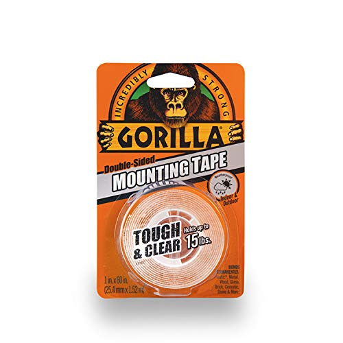 Double Stick Mounting Tape - Gorilla Tough & Clear Double Sided Mounting Tape, 1 Inch x 60 Inches, Clear