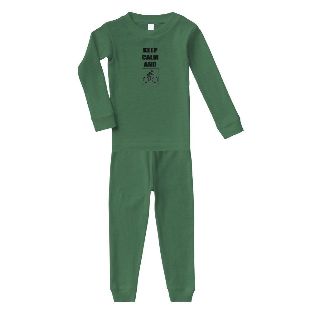 Keep Calm Ride Bicycle Long Sleeve Sleepwear Pajama 2 Pcs Set Top and Pant PAJLAU1121