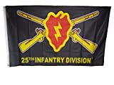 3×5 25th Infantry Division Tropic Lightning Knitted Nylon Premium Flag 3'x5′ House Banner Double Stitched Fade Resistant Premium Quality