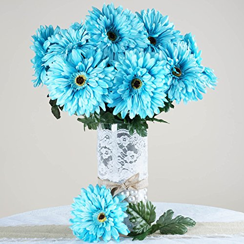 Efavormart 28 Artificial Gerbera Daisy Bushes for DIY Wedding Bouquets Centerpieces Arrangements Party Home Decorations - Turquoise