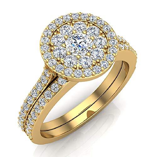 0.88 ct tw Illusion Solitaire Diamond Wedding Ring Set 14K Yellow Gold (Ring Size 9)
