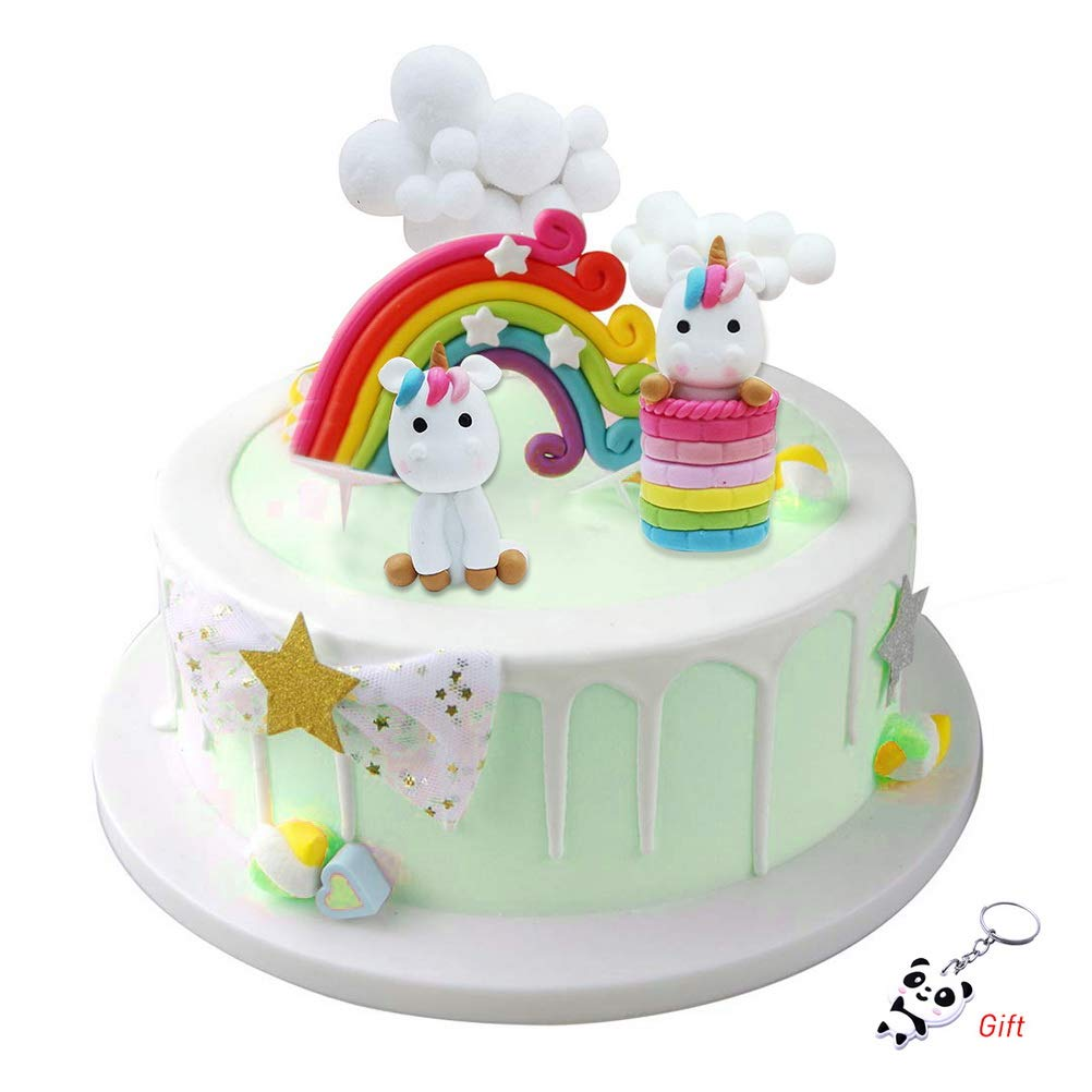 Terrific Kuou 4 Pieces Cloud Rainbow And Unicorn Cake Toppers Kit Cake Funny Birthday Cards Online Ioscodamsfinfo