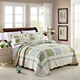FADFAY Queen Forest Green Gingham Comforter Sets European Rustic Patchwork Quilts Girls Summer Coverlets Cotton Quilted Bedspread 3Pcs
